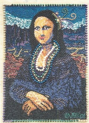 Emen Levy; The Mona Gras, 2000, Original Mosaic,   inches. Artwork description: 241  Actual size Mona. Constructed from Mardi Gras beads. ...