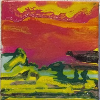 Elizabeth Griffith; Desert Sun , 2014, Original Painting Oil, 5 x 5 inches. Artwork description: 241  Drip oil painting, no brushes used. ...