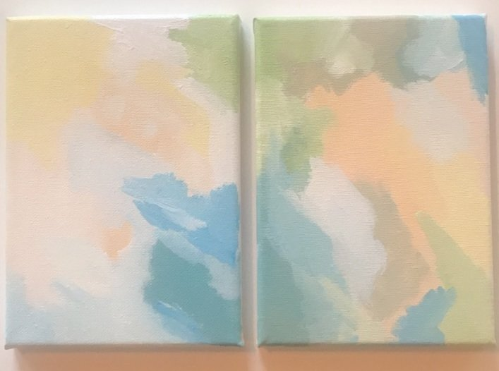 Elizabeth Griffith; full moon, 2018, Original Painting Acrylic, 10 x 7 inches. Artwork description: 241 diptych, soft pastels ...