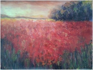 Emilia Milcheva; PROMISING LAND , 2016, Original Painting Acrylic, 95 x 70 cm. Artwork description: 241 I meant this painting to be a celebration of the richness of the earth. I chose a red blooming field and warm colored sky to describe the abundance that the nature offers not only to feed our bodies but as well as our souls. This beautiful view ...