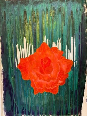 Emily Quackenbush; Spring Flower, 2020, Original Painting Acrylic, 2 x 4 feet. Artwork description: 241 bright flower, fluid pour painting, rainy...