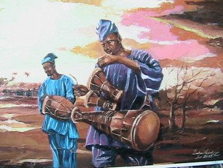 Emmanuel Adekeye; Drum Beats, 2008, Original Drawing Charcoal, 24 x 20 inches. Artwork description: 241  Bata drummers of Nigeria  ...