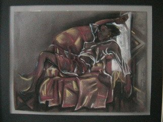 Emmanuel Adekeye; Rest, 2008, Original Pastel, 20 x 18 inches. Artwork description: 241  Pastel chalk of a girl caught in a sleeping position ...