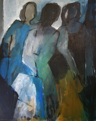 Engelina Zandstra; Composition 959, 2003, Original Painting Acrylic, 80 x 100 cm. Artwork description: 241 landscape,  composition, abstract, painting,  canvas,  modern,  original, lyrical,  figurative,  expressionistic, colorful, acrylic, surrealistic,  people...