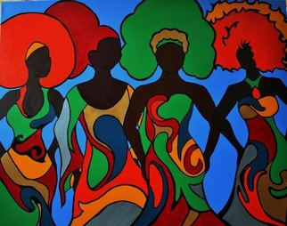 Adrienne Lewis; Sisterhood Of Hues, 2017, Original Painting Acrylic, 4 x 5 feet. Artwork description: 241 Sisters banding together in their own individuality of fashion with complimenting patterns. Faceless figures host the hues of rich schemes signifying unity. ...