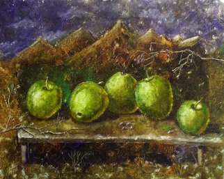 Nina Polunina; Apples On The Table, 2017, Original Painting Oil, 20 x 16 inches. Artwork description: 241 Oil paintingApples on the table.  Copy of the picture of Elena Ilyicheva.Work done with a palette knife.  The ends are painted.  Mounts.  Ready to hang.Oil on stretched canvas.  The canvas is made by hand.  Natural flax is manually primed with natural materialsmedium, small, still ...