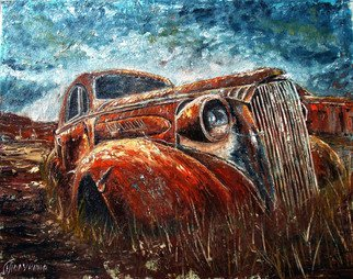 Nina Polunina; Auto Retro, 2017, Original Painting Oil, 20 x 16 inches. Artwork description: 241 Oil paintingAuto retrofrom the seriesAuto retro.  Written in the author s technique.  Oil on stretched canvas.  The canvas is made by hand.  Natural flax is manually primed with natural materials.Many people love portraits.  Their own.  Aliens, people, animals.  And I like portraits of cars, ships, trains.  ...