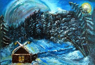 Nina Polunina; Winter, 2018, Original Painting Oil, 26 x 19 inches. Artwork description: 241 Oil painting  Winter. Not our planet. An oil painting on canvas is written in the author s technique. The canvas is made by hand. Natural flax is manually primed with natural materials. Work done with a palette knife. The ends are painted. Brackets. Ready to hang.  middle, ...