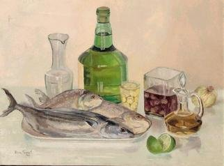 Maria Teresa Fernandes; MARGS  Museum  Collection, 1979, Original Painting Oil, 30 x 24 inches. Artwork description: 241  fish scales are reflexive. Transparent glass  i s  transparent - barriers to overcome ...
