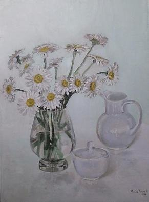 Maria Teresa Fernandes; Daisies, 1978, Original Painting Oil, 22 x 29 inches. Artwork description: 241  every delicate petal is different, in hues, shades, nuances, focus, never a rubber stamp painting. Requires much love to paint   glass against a clear background is a big challenge to any painter                 ...