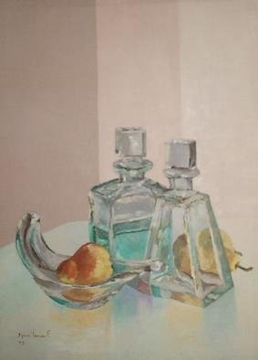 Maria Teresa Fernandes; Pear With Glass, 1975, Original Painting Oil, 22 x 29 inches. Artwork description: 241  thick glass has a world of possibilities, and effort( this painting won honoured mention at ABD- ABI press association show   glass against a clear background is a big challenge to any painter                       ...