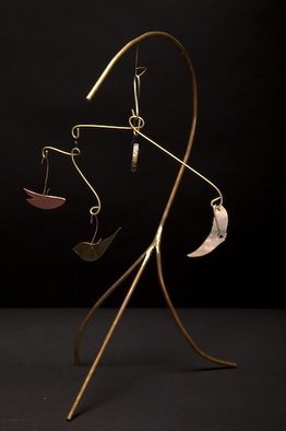 Eric Jacobson; BrassMobile I, 2010, Original Sculpture Other, 12 x 14 inches. Artwork description: 241  This organic sculpture is made of brass tubing, has a mobile, and could be part of a small water feature.             ...