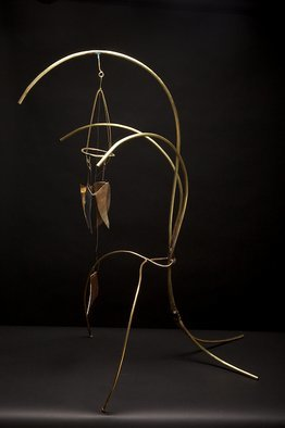 Eric Jacobson; BrassMobile II, 2010, Original Sculpture Other, 21 x 37 inches. Artwork description: 241   This organic sculpture is made of brass tubing, has a mobile, creates sound when the elements hit one another, and could be part of a small water feature.              ...