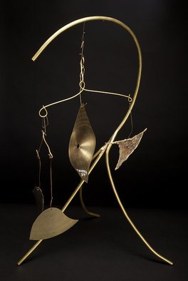 Eric Jacobson; BrassMobile III, 2011, Original Sculpture Other, 15 x 31 inches. Artwork description: 241    This organic sculpture is made of brass tubing, has a mobile, creates sound when the elements hit one another, and could be part of a small water feature.               ...