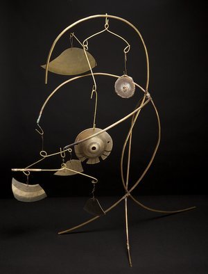 Eric Jacobson; Brassmobile IV, 2011, Original Sculpture Other, 14 x 30 inches. Artwork description: 241     This organic sculpture is made of brass tubing, has a mobile, creates sound when the elements hit one another, and could be part of a small water feature.                ...