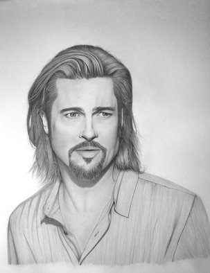 Eric Stavros; Brad Pitt, 2012, Original Drawing Pencil,   cm. Artwork description: 241  Brad Pitt commercial shot for Chanel No5 . . .60x50cm on Glossy 250gr. 2H to 8B.30 hours ( at least 10- 12hours for the hairs! ) . ...