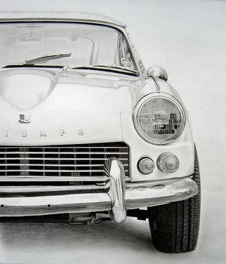 Eric Stavros; TRIUMPH GT6, 1967, 2013, Original Drawing Pencil,   inches. Artwork description: 241  Graphite drawing on smooth bristol 43x35cm.2H to 8B, 35 Hours. . . ...