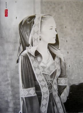 Eric Stavros; Medieval Beauty, 2012, Original Drawing Pencil,   cm. Artwork description: 241  graphite pencils 2H to 8B on 43,2x35,6 bristol. about 12 hours. ...