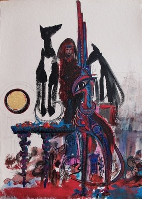 Erika G. Johannsson; Anubis, 2011, Original Mixed Media, 55 x 76 cm. Artwork description: 241    Mixed technique on Paper        ...