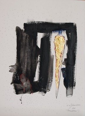 Erika G. Johannsson; Excalibur, 2011, Original Mixed Media, 28 x 38 cm. Artwork description: 241   Mixed technique on Paper with LeafGold  ...