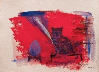 Erika G. Johannsson; Fruestuecksei Mit Katze, 2011, Original Mixed Media, 55 x 75 cm. Artwork description: 241  Mixed technique on handmade Paper    ...