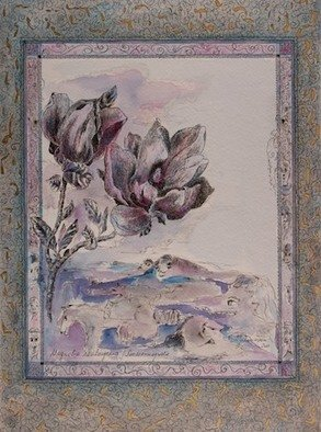 Erika G. Johannsson; Seerosenmagnolie, 2011, Original Mixed Media, 28 x 37 cm. Artwork description: 241  Mixed technique on Paper with LeafGold     ...