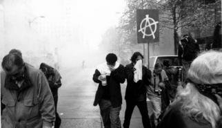 Erik Hoynes; WTO RIOTS 0430, 2004, Original Photography Black and White, 1 x 1 inches. Artwork description: 241 sizes are 11x14 13x19 20x24 24x30...