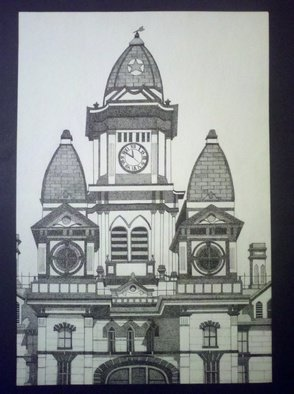 Ernest Gonzales; Lockhart Courthouse, 2013, Original Drawing Pen, 18 x 24 inches. Artwork description: 241  Lockhart Courthouse Buildings Stippled Stippling  ...