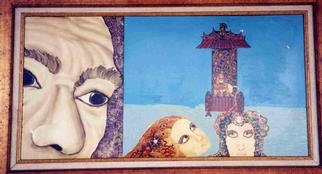 Ellen Safra; Looking For David, 1997, Original Painting Oil, 48 x 23 inches.