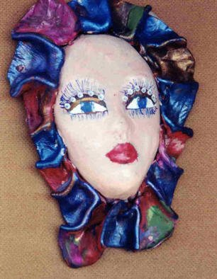 Ellen Safra; Masquerade Two, 2003, Original Leather, 5 x 7 inches. Artwork description: 241 Acrylic painted leather mask. ...