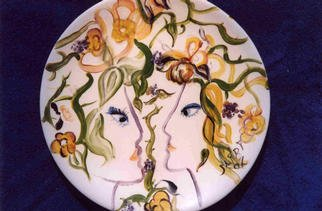 Ellen Safra; Sisters Around Midnight, 2003, Original Ceramics Other,   inches. Artwork description: 241 12 Inch Round ceramic plate fired....