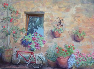 E S Desanna; Spring Day in Sovana, 2007, Original Pastel, 22 x 16 inches. Artwork description: 241 28x22 gold frame with off- white mat. Driving leisurely from Siena to Rome, I visited this tiny hill town in southern Tuscany. There were tubs of flowers everywhere! I thought the bicycle was an interesting counterpoint to the stone walls and all the flower pots. ...