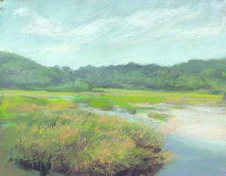 E S Desanna; Tidewater, 2011, Original Pastel, 12.7 x 9.5 inches. Artwork description: 241  Late morning at Paines Creek, a tributary of Cape Cod Bay. This piece was painted on a warm day in late September as the tide came in. ...