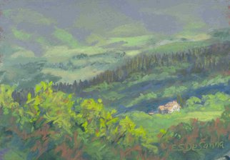 E S Desanna; Tuscan Morning, 2005, Original Pastel, 7.5 x 5.25 inches. Artwork description: 241  14x11 simple gold frame with off- white mat. I painted the spectacular view from my rented villa several times. This was a brisk morning in May, when the sun was just getting high enough to highlight the casa down below....