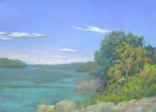 E S Desanna; Upriver, 2009, Original Pastel, 12.5 x 9 inches. Artwork description: 241 18x14 simple frame with off- white mat. A georgeous Autumn day on the Hudson River. The few clouds floating in a deep blue sky encouraged me to paint quickly, so as not to lose the few moments of magic. ...