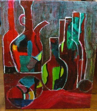 Evie Tirado; Bottles, 2015, Original Painting Acrylic, 16 x 20 inches. Artwork description: 241     abstract acrylic expressionism still life   ...