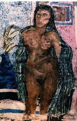 Evie Tirado; Untitled Batik, 2016, Original Other, 25 x 20 inches. Artwork description: 241  nude batik  batik on silk fabric.       ...