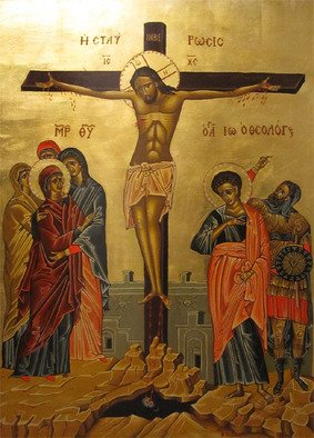 Evangelos Tzavaras; Crucifixion , 2000, Original Other, 70 x 100 cm. Artwork description: 241  This is a traditionaly made byzantine  religious icon. Egg tempera on wood with golden leaves.    ...