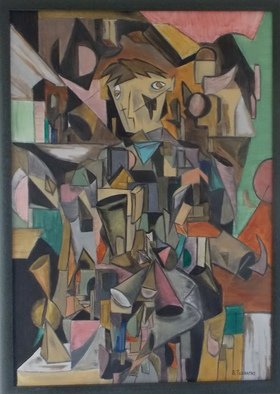 Evangelos Tzavaras; Human Soul, 1999, Original Painting Oil, 70 x 100 cm. Artwork description: 241  How complicated is a human soul? How many layers we have in our soul? In this painting i tried to answer to the above questions and also to paint a human soul. I was inspired by Cubism in order to show the different pieces that a soul ...