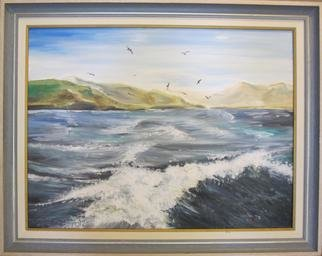 Evangelos Tzavaras; Leaving From A Greek Island, 2000, Original Painting Oil, 74 x 93 cm. Artwork description: 241   Impression of an island when leaving with a boat in Aegean sea.    ...