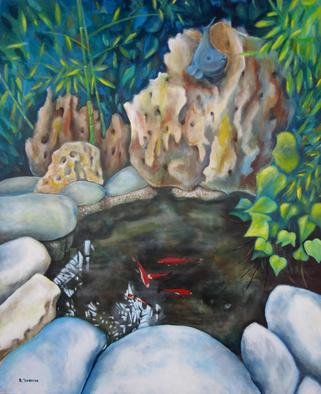 Evangelos Tzavaras; Life In The Goldfish Pond, 2014, Original Painting Acrylic, 120 x 150 cm. Artwork description: 241  Before two years i built a small goldfish pond in my backyard. The noice of the water, the bamboo trees, the beautifull colors of the goldfishes and the leaves around the pond provide a very relaxing environment in the middle of the city. Then i thought that ...