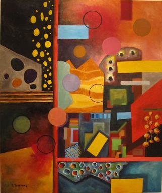 Evangelos Tzavaras; The City, 2013, Original Painting Acrylic, 100 x 120 cm. Artwork description: 241  Abstract urban landscape of a city ...