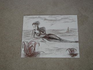 Ina Jinapaia; Nude On The Beach, 2009, Original Pastel, 14 x 11 inches. Artwork description: 241  pastel on canvas board. ...