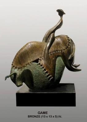 Shawan Sarkar, The Game, 2014, Original Sculpture Bronze, size_width{The_Game-1400179928.jpg} X 13 x  inches