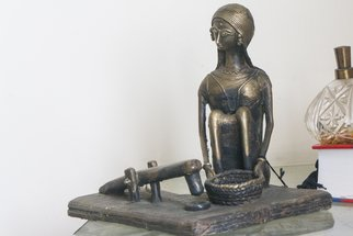 Shawan Sarkar, Woman and the dhenki, 2014, Original Sculpture Other, size_width{Woman_and_the_dhenki-1400180222.jpg} X 10.5 x  inches