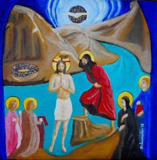 Jennifer Schumacher; Baptism Of Jesus, 2013, Original Painting Acrylic, 1.5 x 20 inches. Artwork description: 241   Jennifer Schumacher, American woman Artist. This site contains paintings of biblical rhetorical settings that invoke a left- handed comment on the nature of people and the society in which we exist.  ...