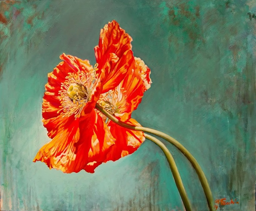 Manuela Facchin Varalda; Due Papaveri, 2019, Original Painting Oil, 23.6 x 19.7 inches. Artwork description: 241 original artwork unique piece oil on canvas 50 x 60 cm coquelicots poppies orange red water landscape floral france annecy light wind...