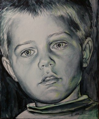 Manuela Facchin Varalda; Luca, 2018, Original Mixed Media, 50 x 60 cm. Artwork description: 241 figurative portrait child boy beautyful light grey green acrylic pastel mixed media on canvas fine art...