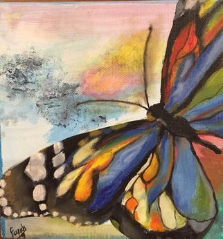 Farah Ravazadeh, blue butterfly, 2016, Original Painting Oil,    inches