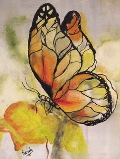 Farah Ravazadeh, yellow butterfly, 2016, Original Painting Oil,    inches